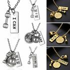 New I Can ME vs ME DUMBBELL BARBELL WEIGHT Pendant Necklace Fitness Gym CROSSFIT