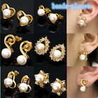 Lady's 18K Gold Plated Golden Tone 6mm Freshwater Pearl Ear Stud Crystal Earring