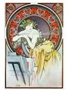 Mucha Lady Cotton Fabric Crazy Quilt Block Multi Sizes M6 Free Shipping