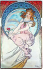 Mucha Lady Cotton Fabric Crazy Quilt Block Multi Sizes M7 Free Shipping