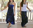 SEXY BLACK & BLUE BOHO TIE DYE HI LOW FOLD OVER MAXI SKIRT or TUBE DRESS S M L