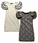 Ladies Lace Shift Dress New Womens Floral Ruffle Cream Black Dresses UK 8 10