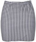 New Womens Girls Elasticated Bodycon Printed Check Gingham Short Mini Skirt