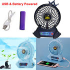 Portable Rechargeable LED Fan Air Cooler Mini Operated Desk USB 18650 Battery