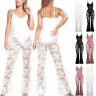 Womens Floral Lace Strappy Cami Chocker Neck Lined Bodysuit Playsuit Jumpsuit