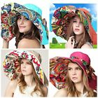 Women Ladies Summer Sun Hat - Floppy Wide Brim Beach Fashion Reversible Visor