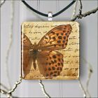 BUTTERFLY BROWN WINGS PENDANT NECKLACE 3 SIZES CHOICE -yhg6Z