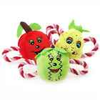 Squeaky Rope Plush Dog Tug Toy Stuffed Squeaker Funny Fruit Chew Play Chiwava
