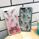 For iPhone 7 6 6S 8 Plus Summer Clear Pineapple Fruit Glitter Dynamic Case Cover