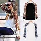New Stylish Lady Women's Fashion Long Sleeve O-Neck Patchwork Top DZ88
