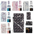 For Huawei Y5 (2017)/Y5 III 3 Marble Pattern Glossy Synthetic Leather Card Cover