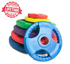 """Tri Grip Weight Plates - Olympic Rubber Coated Cast Iron  2"""" 50mm Barbell Plates"""