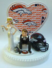 Wedding Cake Topper Denver Broncos Themed Football Ball & Chain Humorous Funny
