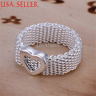 925 Sterling Silver Comfort-Fit Flexible love Heart 10mm Mesh Ring Jewelry E021