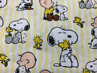 PEANUTS SNOOPY striped cotton : 100% LICENSED cotton :  by the 1/2 metre