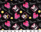 Disney MINNIE MOUSE badges : 100% cotton fabric by the 1/2 metre