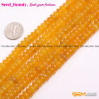 Natural Genuine Yellow Agate Onyx Gemstone Rondelle Bead Spacer Beads Strand 15""