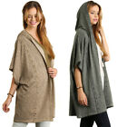 UMGEE Womens Washed Olive Taupe Hooded Chic Boho Bohemian Wrap Cardigan S M L