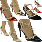 Womens Ladies Studded T-Bar Ankle Strap Mid Kitten Heel Party Shoes Sandals Size