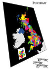 Colour postcode map of the United Kingdom with black - Media Choice wall art