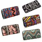 Womens Boho Multi Color Zipper Around Handbag Wallet Purse ID Card Ticket Holder