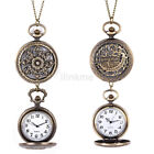 Retro Steampunk Antique Pocket Watch Chain Quartz Pendant Necklace Luxury CA image