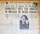 1934 headline newspaper FRANKLIN D ROOSEVELT attacks US TAX DODGERS as unethical