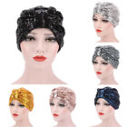 Women Indian Style Sequins Stretch Turban Hat Chemo Hair Loss Head Wrap