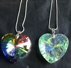 40mm Colorful AB heart Crystal Glass Pendants Vintage Statement chian Necklace