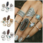 8 Pcs/set Gold Vintage Women Turquoise Jewelry Unique Carving Folk-custom Rings