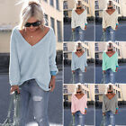 New Ladies V-neck Knitted Sweater Long Sleeve Tops Pullover Loose Womens Jumper