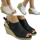 New Womens Ladies Slingback Buckle Espadrilles Shoes Peeptoe Wedge Sandals Size