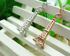 18K Rose Gold Gp/White Gold Gp Eiffel Tower Austrian Crystal Chain Necklace
