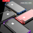 Luphie Transparen​t PC Tempered Glass Cover Metal Bumper Case For iphone 7 PLUS