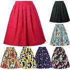 Vintage Retro Women Cotton Floral Pleated A-Line Swing Skater Short Midi Skirt