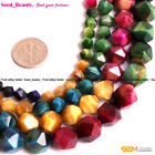 """Faceted Assorted Color Tiger's Eye Stone Beads For Jewery Making 15"""" Wholesale"""