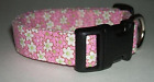 PINK AND WHITE FLOWERS ON PINK PRINT DOG COLLAR (YOU PICK THE SIZE)