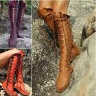 Womens Gladiator Lace Up Knee High Boots Winter Flat Vogue Shoes Goth Knight
