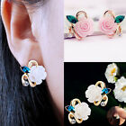1 Pair Women Charm Earring Crystal Rose Flower Ear Stud Lady Party Jewelry Gifts