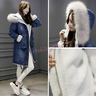 Womens Faux Fur Hooded Fleece Lining Mid Long Jean Denim Jacket Coats Winter Hot