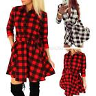 Women's Plaid Flannel Mini Dress 3/4 Sleeve Lapel Shirt Dress Flared Skater USA