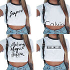 Summer Women Casual Tank Top Blouse Ladies Slim Print Crop Top T-Shirt Sportwear