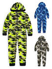 Boys Camo Onezee New Kids Fleece Full Length Hooded All In One Ages 7 - 13 Years