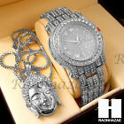 New Fully Iced Out Lab Diamonds Silver Buddha Pendant Techno Pave Dope Watch S19 image