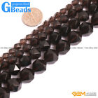 Natural Smoky Quartz Gemstone Faceted Polygonal Beads For Jewelry Making 15""