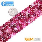 "Magenta Stripe Agate Onyx Gemstone Faceted Round Beads For Jewelry Making 15"" GB"