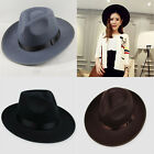 Vintage Hard Band Felt Hat Wide Brim Fedora Trilby Hat Gangster Caps Men Women