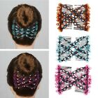 Fashion Women Magic Beads Elasticity Double Hair Comb Clip Stretchy  Accessories