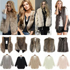 Women Winter Shaggy Faux Fur Waistcoat Sleeveless Jacket COAT Gilet Warm Outwear