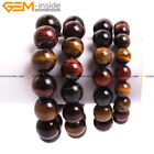Round Yellow Red Blue Tiger's Eye Beads Elastic Bracelet Jewelry for men 7.5""